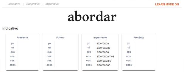 časování španělských sloves - učící mód